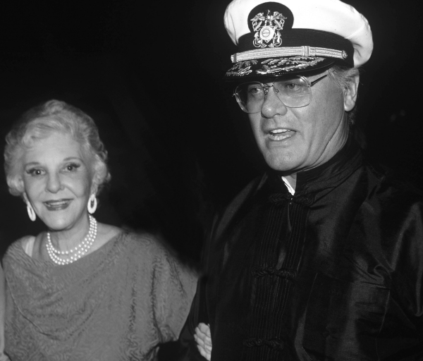Larry Hagman &  mother Mary Martin ( DALLAS ) attending a Broadway show in New York City. August 1988