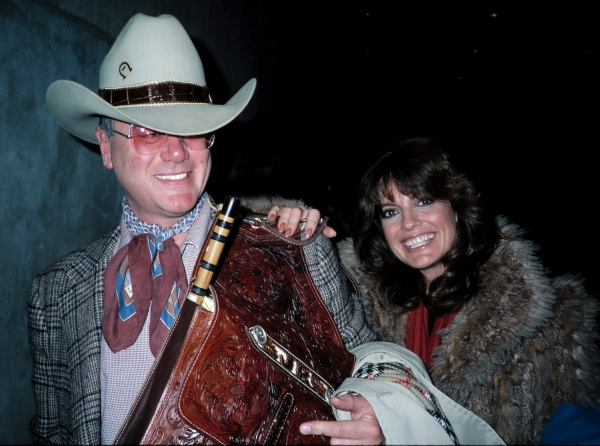 Larry Hagman and Linda Gray  ( DALLAS ) Arriving at Kennedy Airport,New York City. February 1982