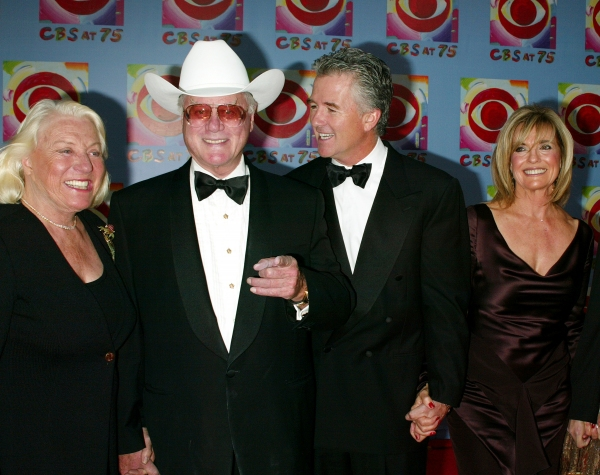 Larry Hagman with his wife, Patrick Duffy and Linda Grey ( DALLAS ) Attending CBS AT 75, a three hour entertainment extravaganza commemorating CBS's 75th Anniversary, which will be  broadcast live from the Hammerstein Ballroom at New York's Manhattan Ce