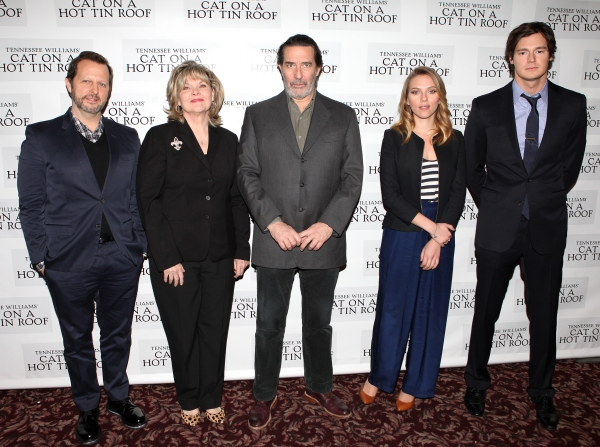 Director Rob Ashford, Debra Monk, Ciaran Hinds, Scarlett Johansson & Benjamin Walker attending the Broadway Cast Meet & Greet for 'Cat On A Hot Tin Roof' at Sardi's Restaurant in New York City on 11/27/2012