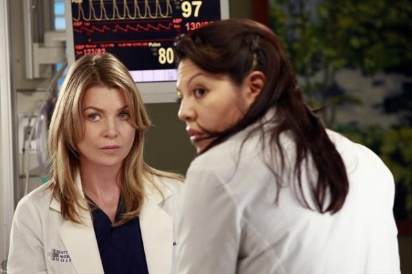 ELLEN POMPEO, SARA RAMIREZ at First Look at Neve Campbell on GREY'S ANATOMY