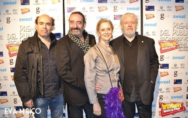 Paco Ariza, Vicky Peña y acompañante y Mario Gas