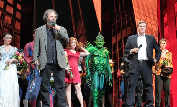 Michael Cohl, Jeremiah Harris and the cast of Spider-Man Turn Off the Dark Photo