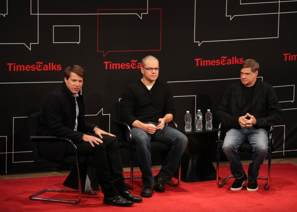 Moderator Hugo Lindgren with Matt Damon & Gus Van Sant