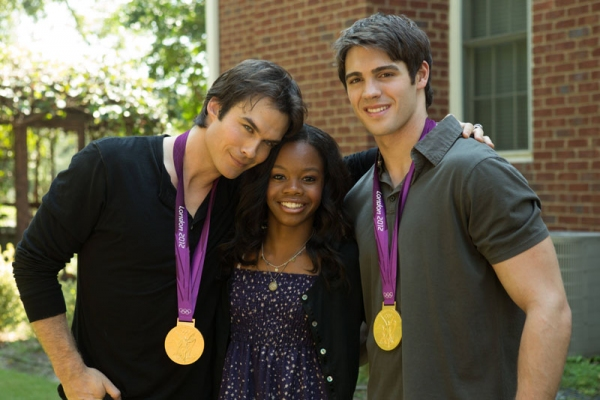 Photo Flash: Behind-The-Scenes Look at Gabby Douglas on VAMPIRE DIARIES Set