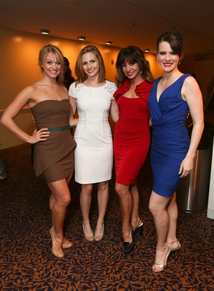 "From left, Jacqueline Burtney, Audrey Cardwell, Alex Matteo and Kristie Kerwin pose during the party for the opening night performance of ""Anything Goes"" at the Center Theatre Group/Ahmanson Theatre on 29,  Nov. 28, 2012, in Los Angeles, Calif. (Photo by"