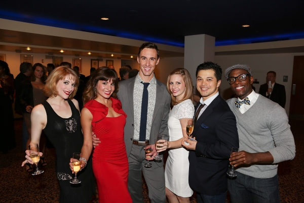 "From left, cast members Vanessa Sonon, Alex Mateo, Ryan Steer, Audrey Cardwell, Vincent Rodriguez III and Kristopher Thompson-Bolden pose during the party for the opening night performance of ""Anything Goes"" at the Center Theatre Group/Ahmanson Theatre on"