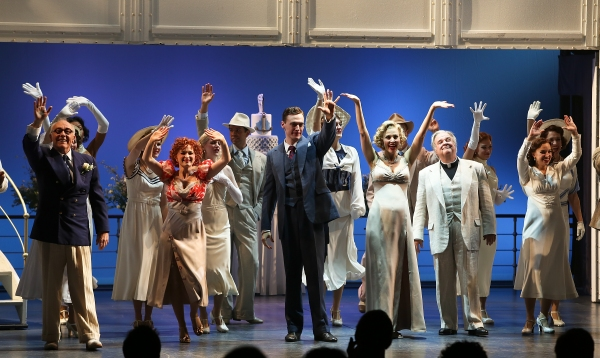 "From left, cast members Dennis Kelly, Joyce Chittick, Erich Bergen, Rachel York, Fred Applegate and Alex Finke at the curtain call for the opening night performance of ""Anything Goes"" at the Center Theatre Group/Ahmanson Theatre on 28,  Nov. 28, 2012, in"