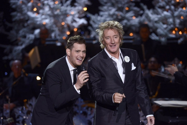 Michael Buble, Rod Stewart at First Look at Michael Buble's Holiday Special on NBC, Airing 12/10
