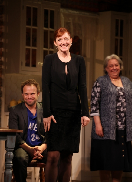 Norbert Leo Butz, Judy Greer & Jayne Houdyshell at DEAD ACCOUNTS on Broadway - Opening Night Curtain Call