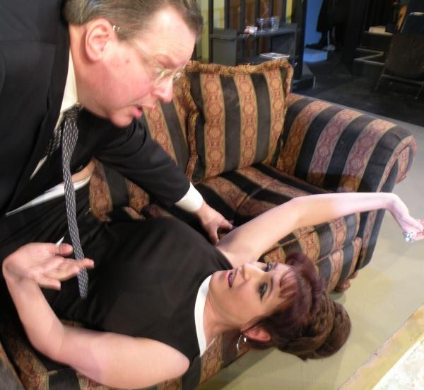 Barney (Bob Maddox) attempts to romance Elaine (Melissa J. Mayo)  Photo