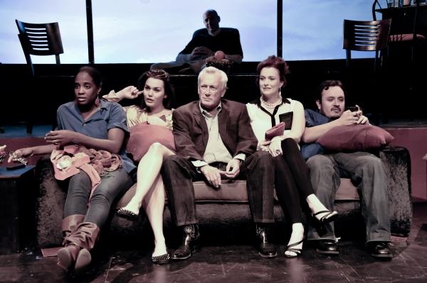 """Skybox"" cast:  (L-R): Maisha Azadi, Chelsea Clime, Bill Tatum, Rachjel Daye Adams, Kenny Steven Fuentes, (behind) Steve Brunstein."