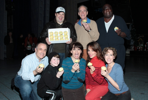 Jordan Gelber, Mark Jacoby, Michael Mandell, front: Adam Heller, Mitchell Sink, Beth Leavel, Leslie Kritzer, Valerie Wright at Magnolia Bakery Reveals ELF Cupcake!