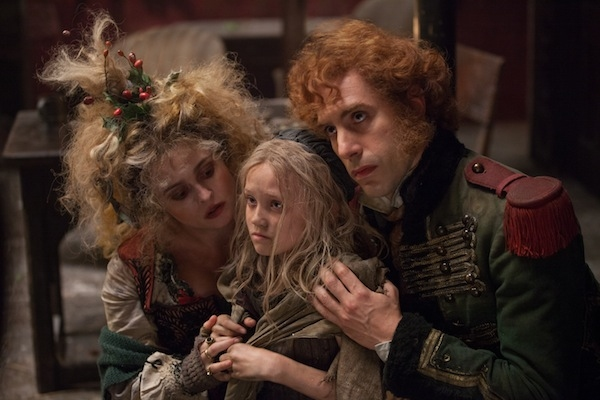 Helena Bonham Carter, Isabelle Allen and Sacha Baron Cohen
