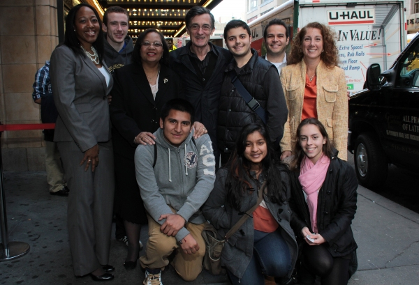 Janel Matthews, Dr. Dorita Gibson, Roger Rees, Peter Avery, Dr. Laura Feijo and NYC students