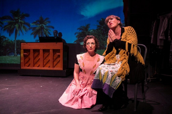 "Jessica Smith, and Priscilla Squiers in the  vignette ""Corn!,"" a parody in the style of Rodgers and Hammerstein"