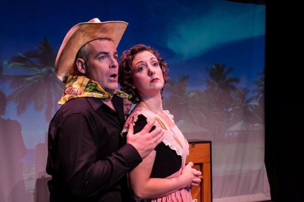 "Tom Denihan and Jessica Smith in the  vignette ""Corn!,"" a parody in the style of Rodg Photo"