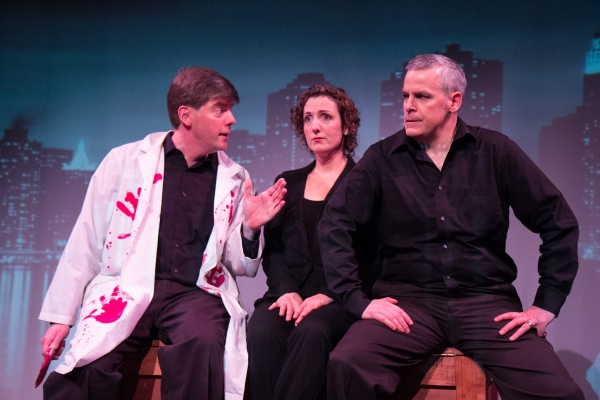 "Jonathan Jacobson, Jessica Smith, and Tom Denihan in the vignette ""A Little Complex,"" a parody in the style of Stephen Sondheim"