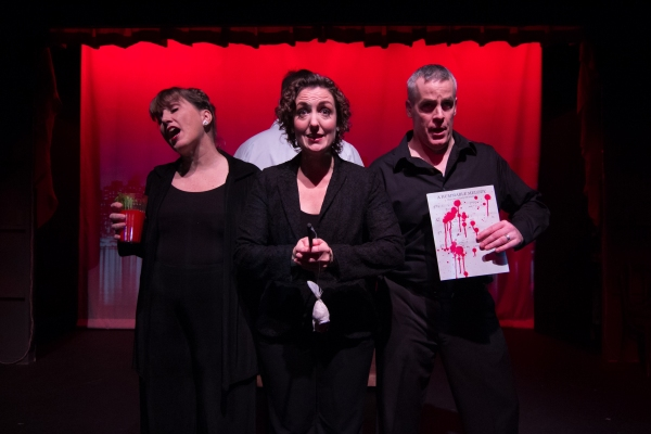 "Priscilla Squiers, Jessica Smith, and Tom Denihan in the vignette ""A Little Complex,"" a parody in the style of Stephen Sondheim"