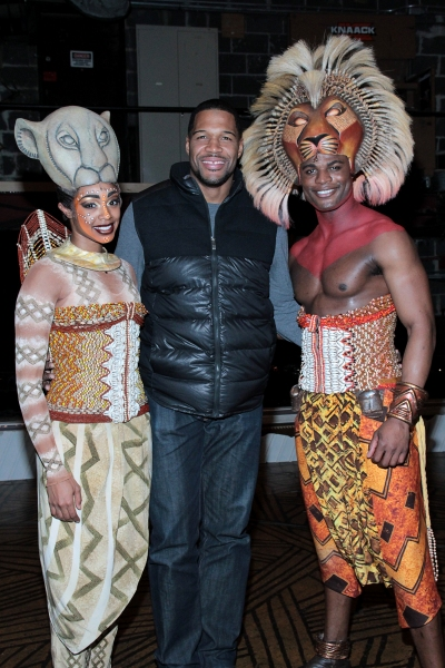 Chantel Riley, Michael Strahan, Andile Gumbi at Michael Strahan Visits THE LION KING!