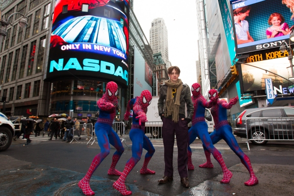 Photo Flash: Reeve Carney and SPIDER-MAN Cast Ring NASDAQ Bell!