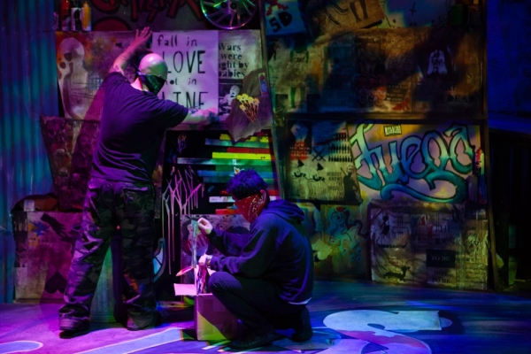 Brian Burke, Justin Warren Martin creating art live onstage