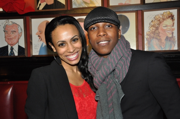 Nicolette Robinson and Leslie Odom, Jr. at James Barbour Brings Holiday Concert to Sardi's