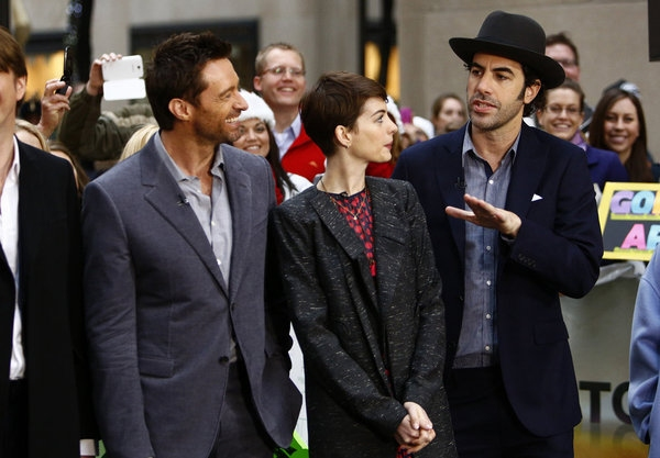 Hugh Jackman, Anne Hathaway and Sacha Baron Cohen at Cast of LES MISERABLES Appears on 'Today'