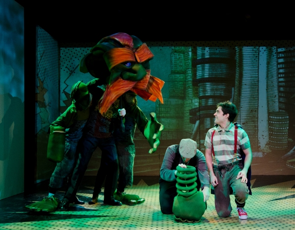 Bobby Moreno, Katey Parker & Chloe Moser (All covered up playing Lothar puppet), Eric Wright on floor with head down (Hand), and Joe Paulik (P.S. Jones)