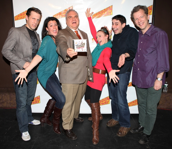 Scott Richard Foster, Natalie Charle Ellis, Forbidden Broadway creator, writer/director Gerard Alessandrini, Jenny Lee Stern, Marcus Stevens and musical director David Caldwell
