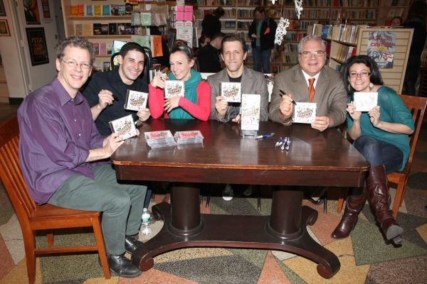Musical director David Caldwell, Marcus Stevens, Jenny Lee Stern, Scott Richard Foster, Forbidden Broadway creator, writer/director Gerard Alessandrini & Natalie Charle Ellis