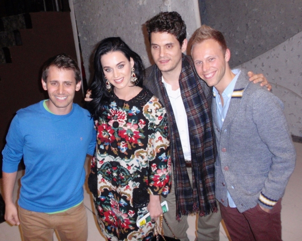 BENJ PASEK and JUSTIN PAUL with KATY PERRY and JOHN MAYER at Katy Perry & John Mayer Visit A CHRISTMAS STORY