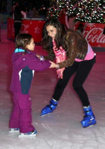 Constance Marie and her daughter ice skating