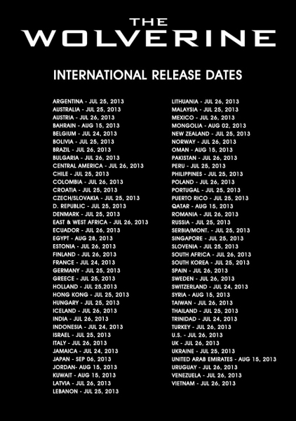 Photo Flash: THE WOLVERINE Reveals Worldwide Release Dates