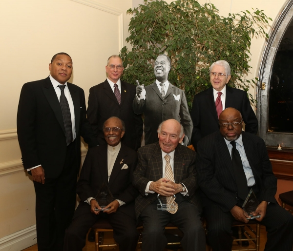 (front row) Jimmy Heath, George Wein, Stanley Crouch (back row) Wynton Marsalis, Michael Cogswell and Jerry Chazen