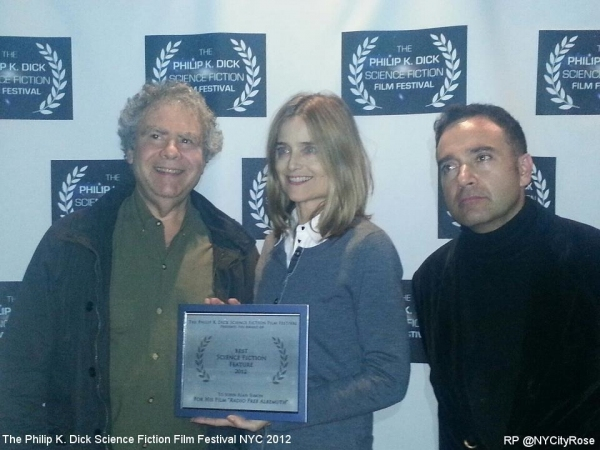 """Best Science Fiction Feature"" RADIO FREE ALBEMUTH's Director John Alan Simon and Producer Elizabeth Karr with Festival Director Daniel Abella"