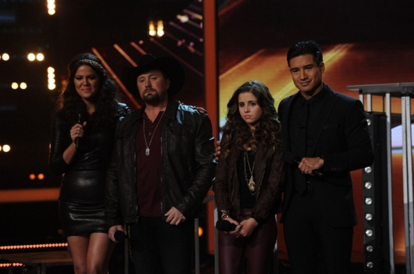 Khloe Kardashian Odom and co-host Mario Lopez with finalists Tate Stevens and Carly Rose Sonenclar     (Photo Credit: Ray Mickshaw/FOX)
