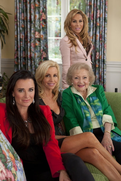 Kyle Richards, Camille Grammer, Betty White, Adrienne Maloof at First Look - Kim Kardashian & More Guest Star on BETTY WHITE'S OFF THEIR ROCKERS