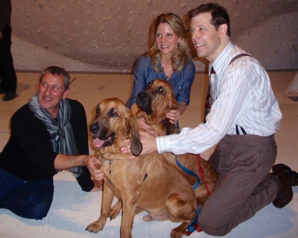 Adam Shankman, Kelli O'Hara and John Bolton with dogs Pete and Lily