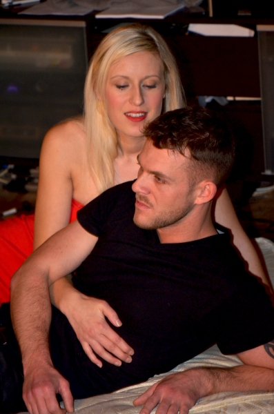Adele Stanhope (M) and Rick Carter (Mark) in rehearsals for 'M' Photo