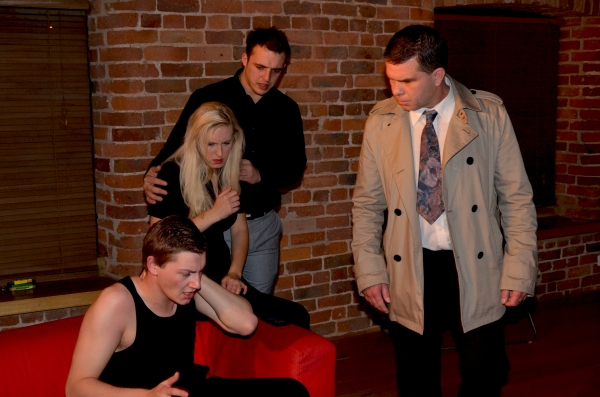 Richard Allen (Tony) Adele Stanhope (M) David Degiorgio (Sam) Mark Hill (Detective Thompson) in rehearsals for 'M'