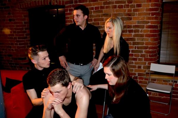 Richard Allen (Tony) Nathaniel Hall (Sebastian) David Degiorgio (Sam) Adele Stanhope (M) and Ciara Tansey (Catherine) in rehearsals for 'M'