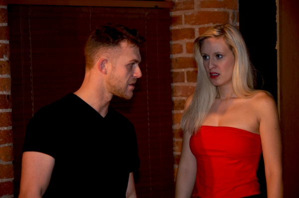 Rick Carter (Mark) and Adele Stanhope (M) in rehearsals for 'M' Photo