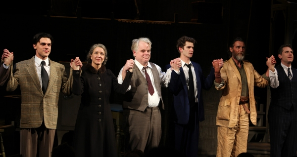 "Finn Wittrock, Linda Emond, Phillip Seymour Hoffman, Andrew Garfield, John Glover & Remy Auberjonois during the Opening Night Performance Curtain Call for ""Death Of A Salesman"" at The Barrymore Theatre New York City on 3/15/2012."