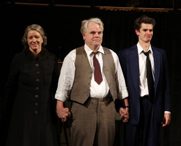"Linda Emond, Phillip Seymour Hoffman & Andrew Garfield during the Opening Night Performance Curtain Call for ""Death Of A Salesman"" at The Barrymore Theatre New York City on 3/15/2012."