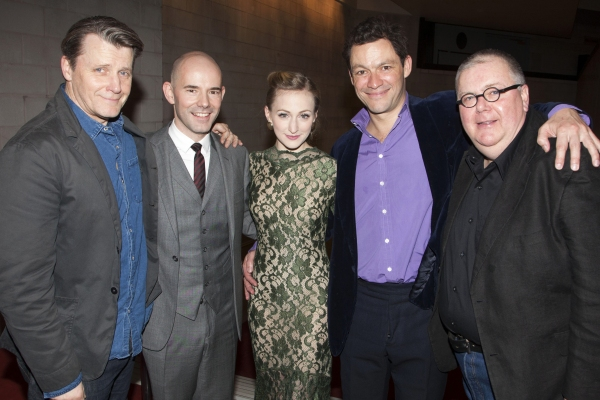 Anthony Calf (Colonel Pickering), Daniel Evans (Director), Carly Bawden (Eliza Doolittle), Dominic West (Professor Henry Higgins) and Martyn Ellis (Alfred P Doolittle)
