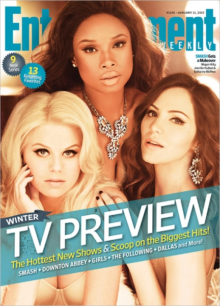 Megan Hilty, Katherine McPhee, Jennifer Hudson at SMASH's Hilty, Hudson, & McPhee Featured on Cover of EW