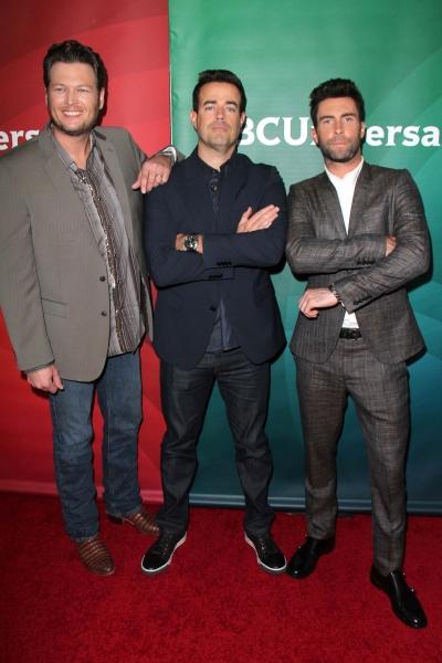 Blake Shelton, Adam Levine and Carson Daly at NBC Stars Attend 2013 Winter TCA in Los Angeles