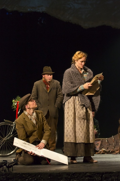 Andrew Veenstra as Albert, Todd Cerveris as Ted and Angela Reed as Rose