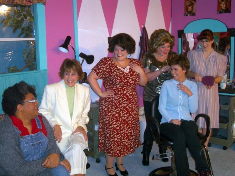 High Res Genevieve Williams as Ouiser, Denise Lynn Hoover as Claree, Alexandra Garcia           Guyker as M'Lynn, Suzanna Fox as Truvy, Melinda Renee Kinslow as Shelby, and Rachel Silvert as Annelle
